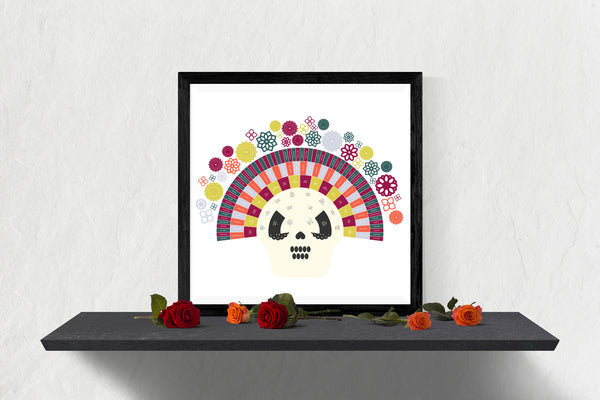 Dia de los Muertos Integrated Raspberry Sugar Skull Family Tree Chart
