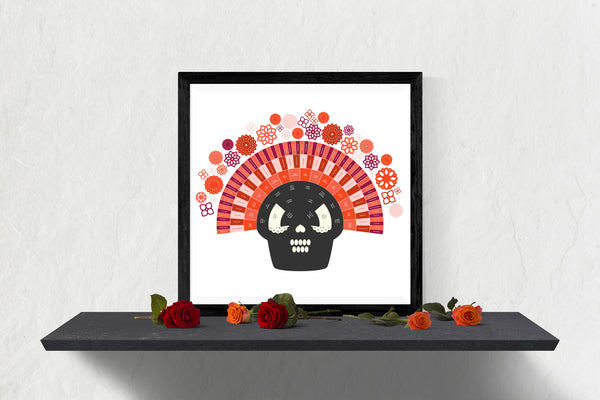 Dia de los Muertos Integrated Rose Sugar Skull Family Tree Chart