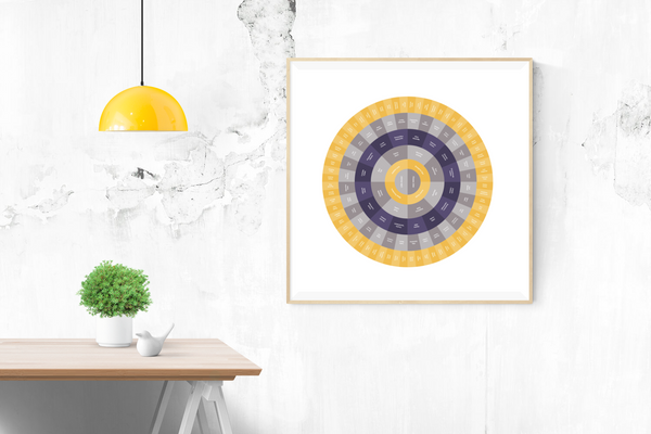 Customizable classically complimentary purple and gold circle genealogy family tree chart for your home--ready in minutes!