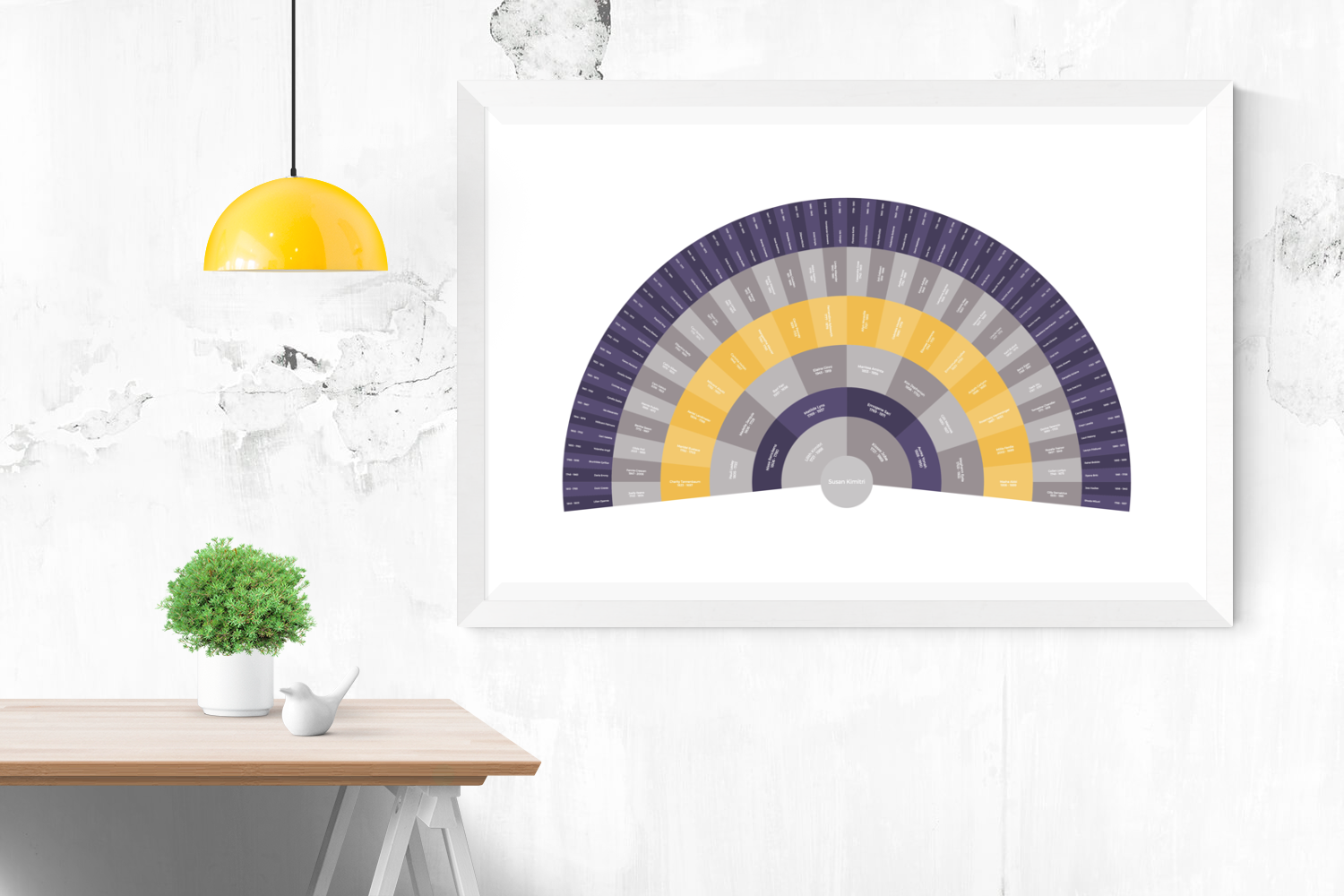 Customizable classically complimentary purple and gold fan genealogy family tree chart for your home--ready in minutes!