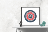 Customizable red and navy circle genealogy family tree chart for your home--ready in minutes!