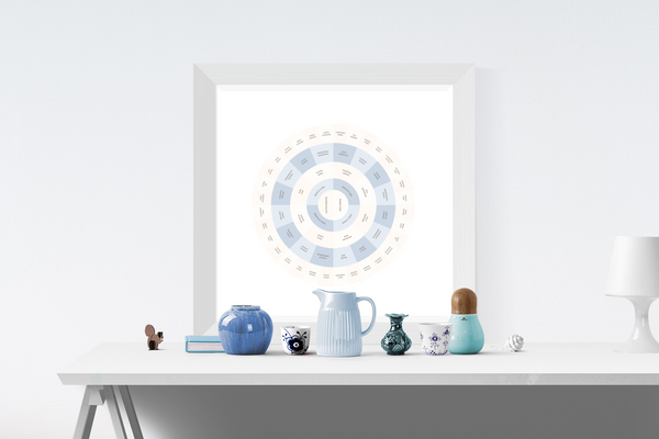 Customizable light blue and cream circle genealogy family tree chart for your home--ready in minutes!