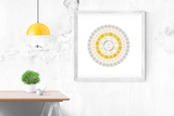Customizable mustard and light grey circle genealogy family tree chart for your home--ready in minutes!