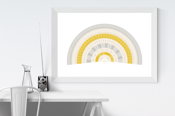 Customizable mustard and light grey fan genealogy family tree chart for your home--ready in minutes!