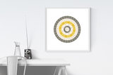Customizable mustard and dark grey circle genealogy family tree chart for your home--ready in minutes!