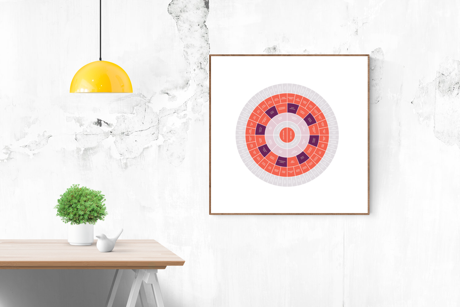 Customizable bold reds and purples circle genealogy family tree chart for your home--ready in minutes!