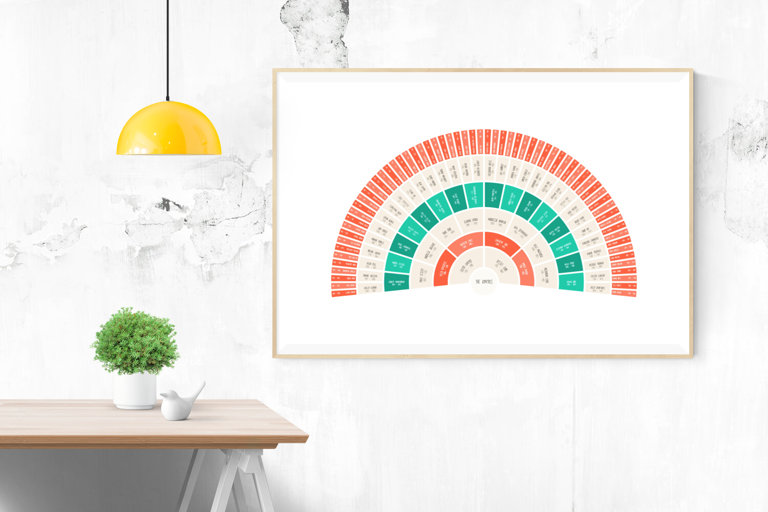 Customizable vibrant red and green fan genealogy family tree chart for your home--ready in minutes!