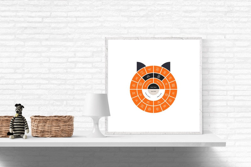 Customizable kid's minimalist fox genealogy family tree chart for your home--ready in minutes!