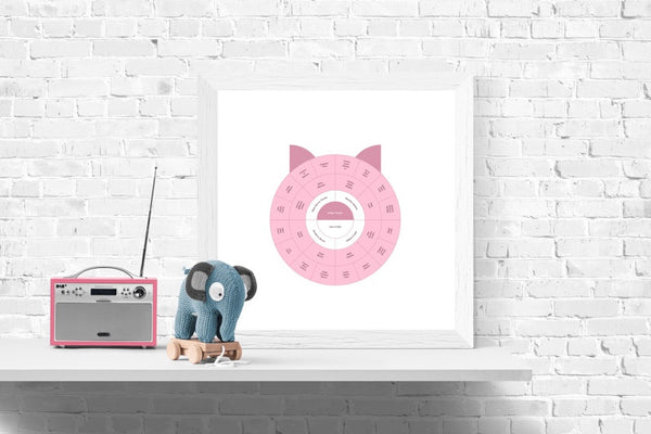 Customizable kid's minimalist pig genealogy family tree chart for your home--ready in minutes!