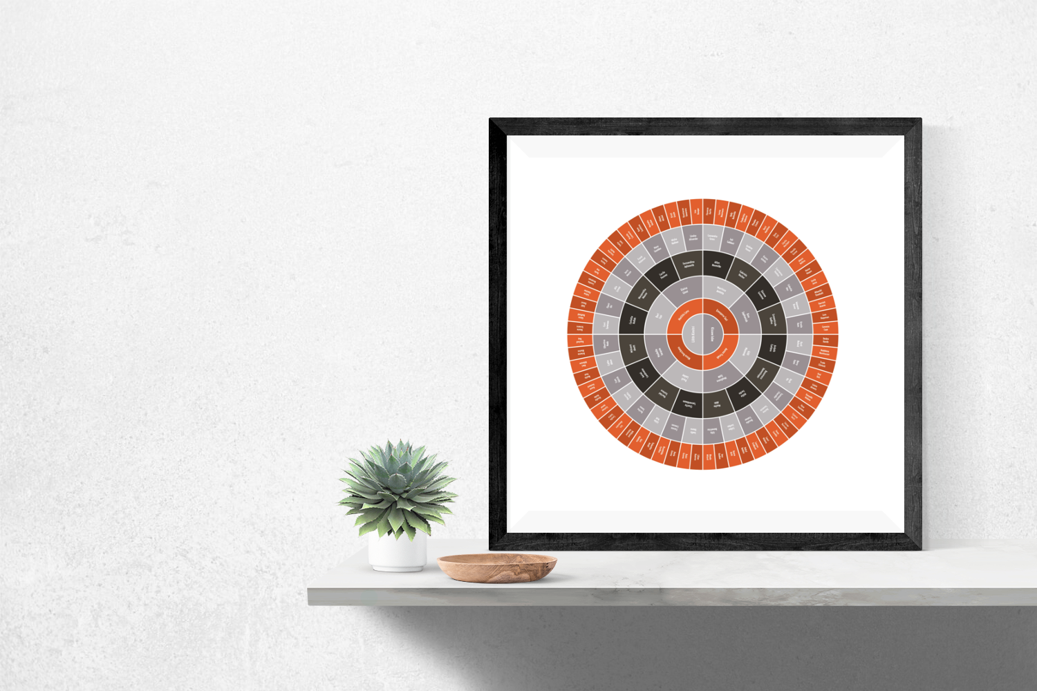 Customizable vibrant orange and charcoal circle genealogy family tree chart for your home--ready in minutes!