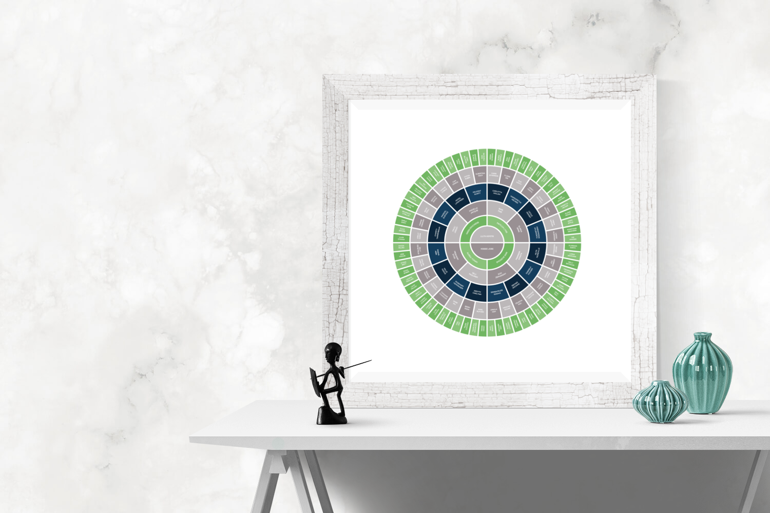Customizable vibrant green and blue circle genealogy family tree chart for your home--ready in minutes!