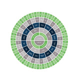 Customizable family tree chart template in vibrant green and blue--ready in minutes!