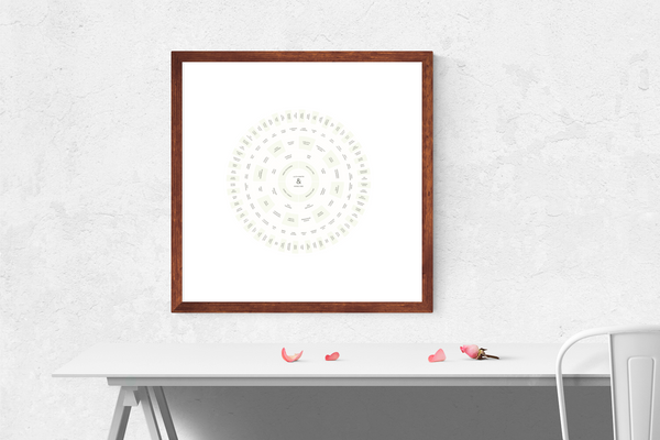 Customizable subtle green and cream hues circle genealogy family tree chart for your home--ready in minutes!