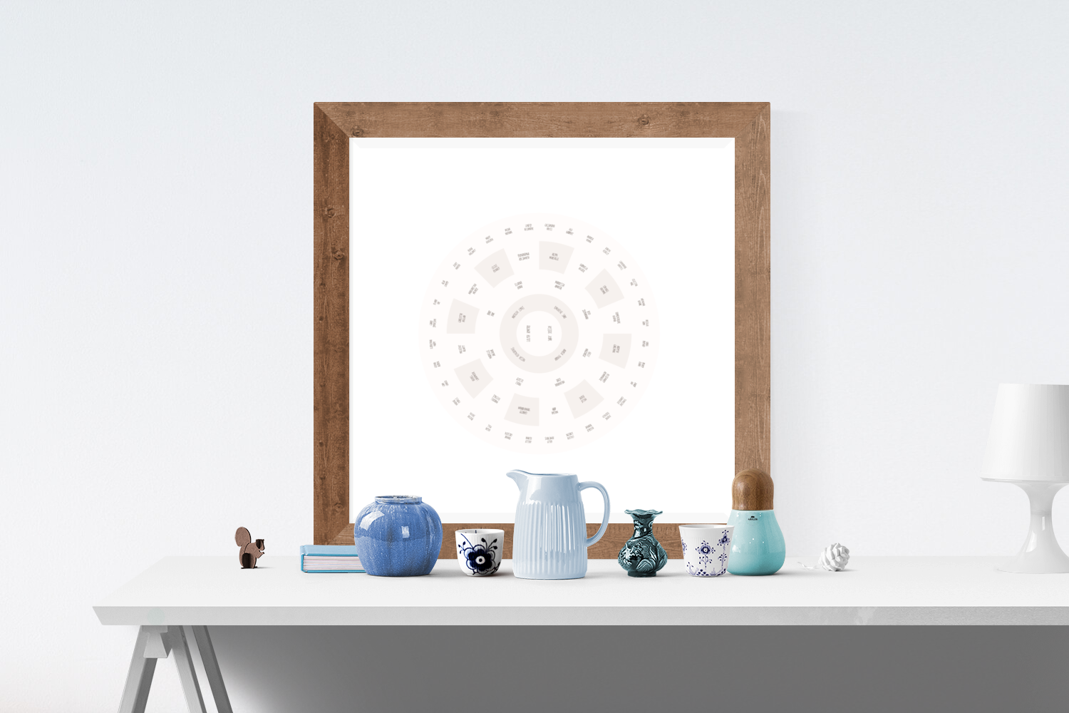Customizable subtle brown and cream hues circle genealogy family tree chart for your home--ready in minutes!