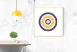 Customizable deep purple and orange gold circle genealogy family tree chart for your home--ready in minutes!