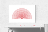 Customizable rose ombre fan genealogy family tree chart for your home--ready in minutes!