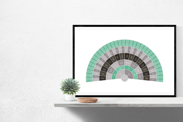 Customizable turquoise and charcoal fan genealogy family tree chart for your home--ready in minutes!