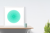 Customizable seafoam ombre circle genealogy family tree chart for your home--ready in minutes!