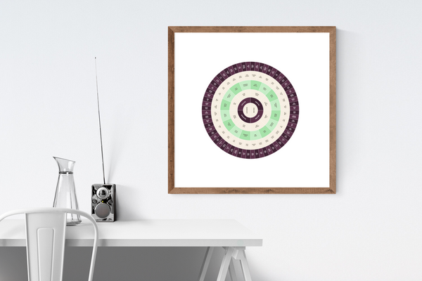 Customizable deep purple and spring green circle genealogy family tree chart for your home--ready in minutes!