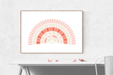 Customizable a delightful array of pinks fan genealogy family tree chart for your home--ready in minutes!