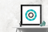 Customizable turquoise and black circle genealogy family tree chart for your home--ready in minutes!