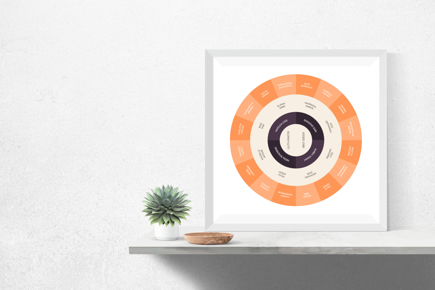 Customizable violet and cheery orange circle genealogy family tree chart for your home--ready in minutes!