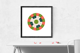 Customizable vibrant pink and green circle genealogy family tree chart for your home--ready in minutes!