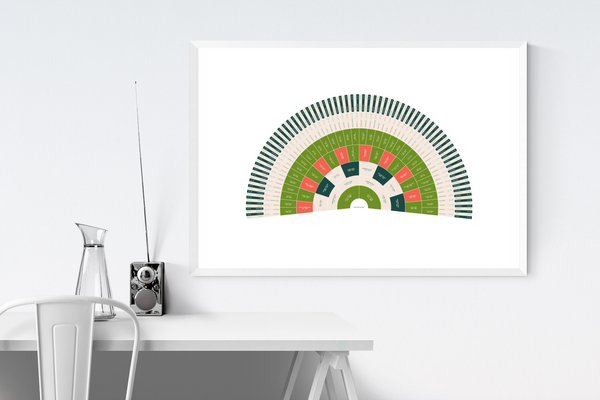 Customizable vibrant pink and green fan genealogy family tree chart for your home--ready in minutes!