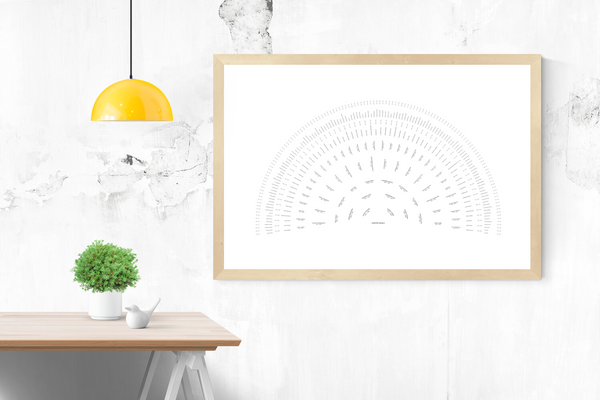 Customizable white without borders fan genealogy family tree chart for your home--ready in minutes!