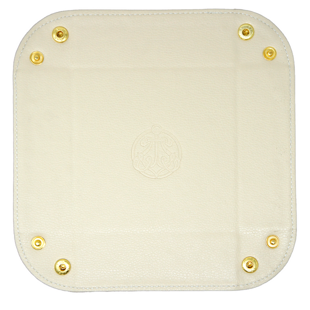 Men's valet tray perfect for keys, coins, phone, collar stay, etc. Custom monogramming available for this catchall tray. This trinket tray is portable travel-friendly for the hotel room or perfect for a bedroom dresser.