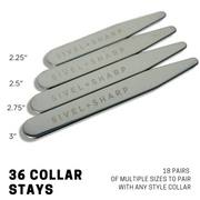 Ultimate Set Of 36 Stainless Steel Collar Stays By SIVEL+SHAPR: High-Quality Durable Heavy-Duty Material-Luxury Men's Shirt Accessory-18 Pairs Of Plated Metal Stiffeners In 4 Different Sizes-With Logo