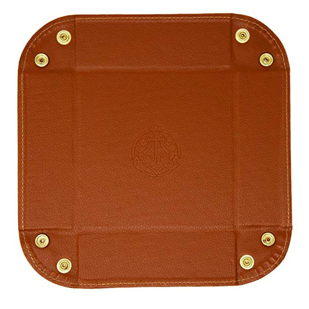 Vegan Leather Valet Tray - Men's Catchall Tray with Brass Snaps