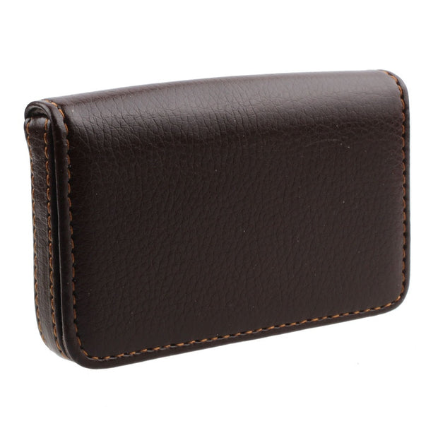 Minimalist Leather Business Credit Card Holder with Magnetic Flap