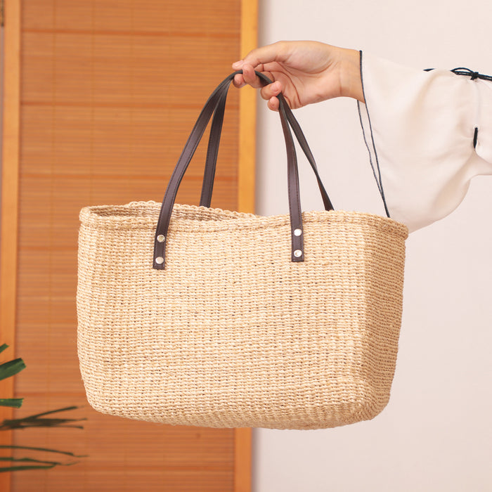 Natural Boxy Woven Bag