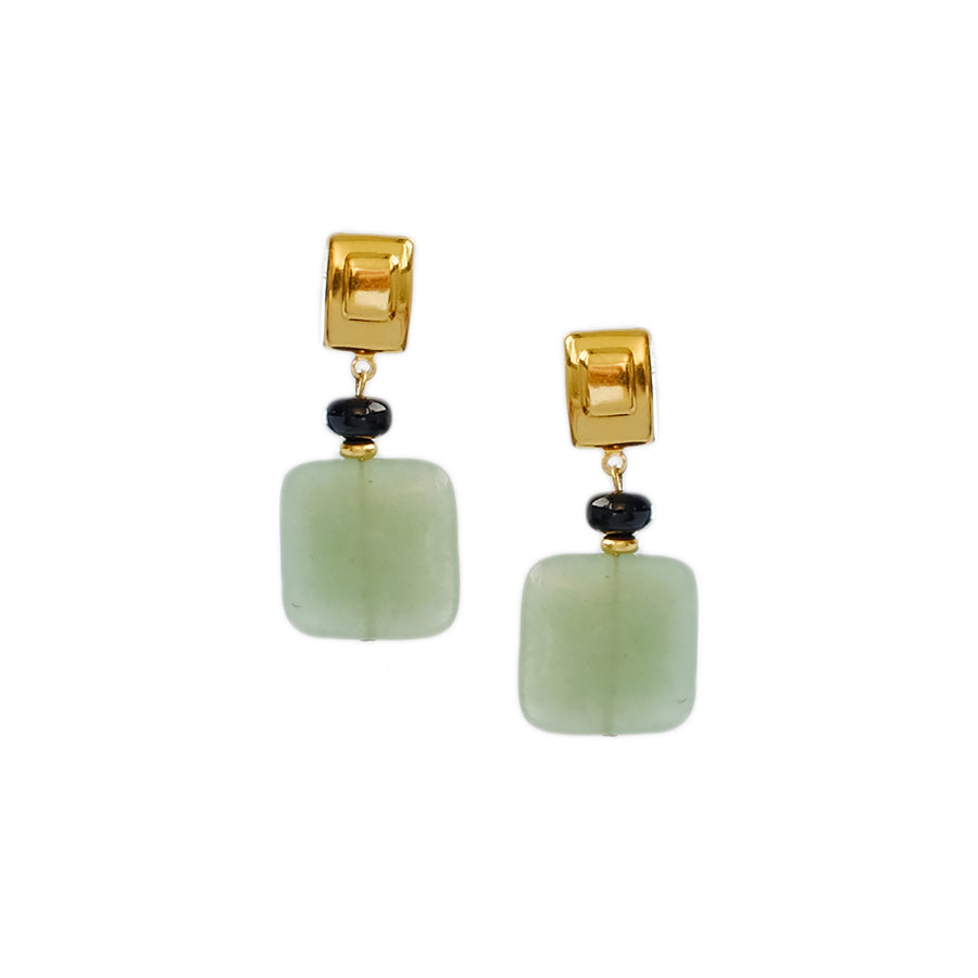 Quadro Earrings in Jade