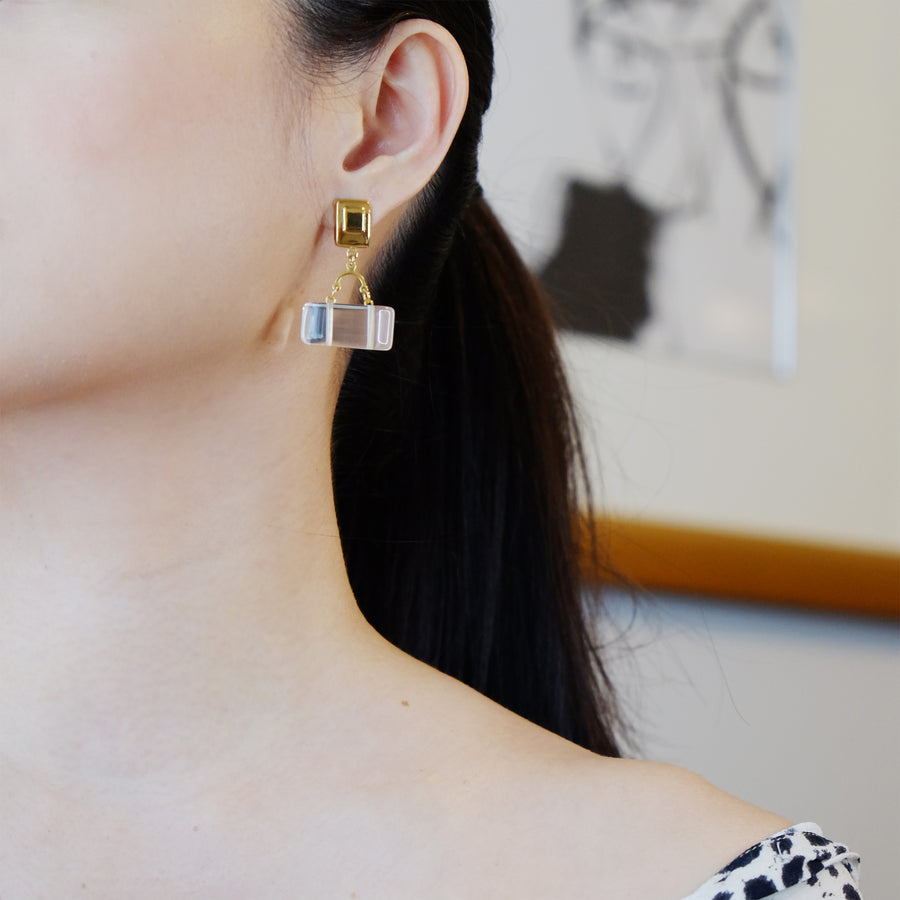Baguette Earrings in Clear Quartz