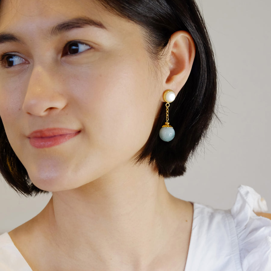 Charlotte Earrings in Aquamarine