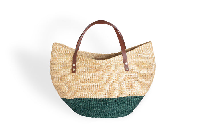 Natural and Green Woven Bag