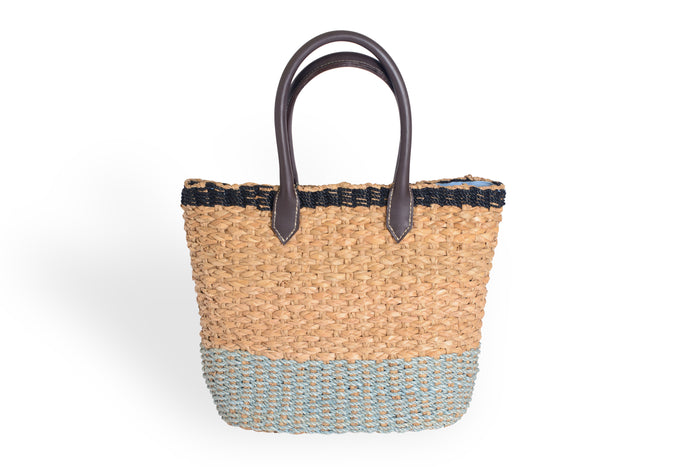 Natural and Light Blue Woven Bag