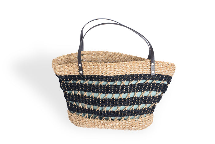 Natural and Black Woven Bag