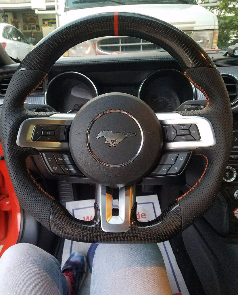 Ford F150 Accessories Catalog >> Custom-made Carbon fiber Steering Wheel for 2015 - 2017 Ford Mustang C – Phoenix Android Radios
