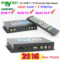 Car HDTV tuner DVB-T2 DVB-T MULTI PLP Digital TV Receiver automobile DTV box With Two Tuner Antenna