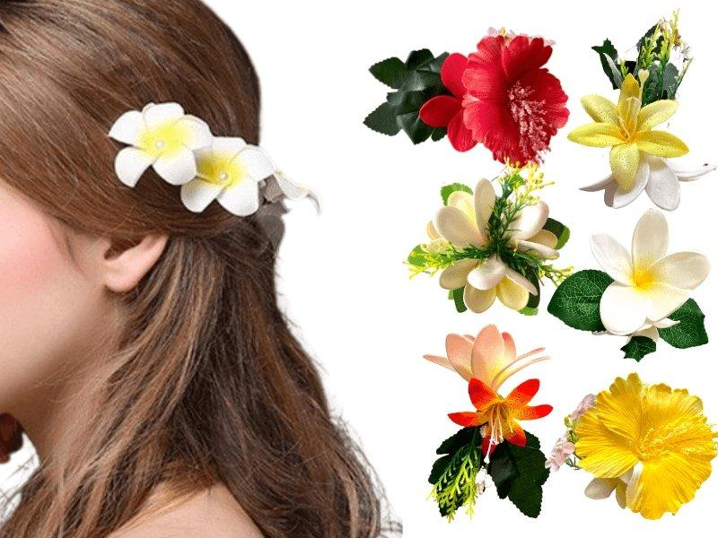 Artificial flower hair clips (assorted colours) - MADPACIFIC