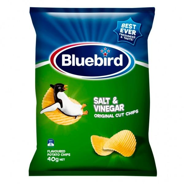 Bluebird original cut salt and vinegar flavoured potato chips 40g - MADPACIFIC