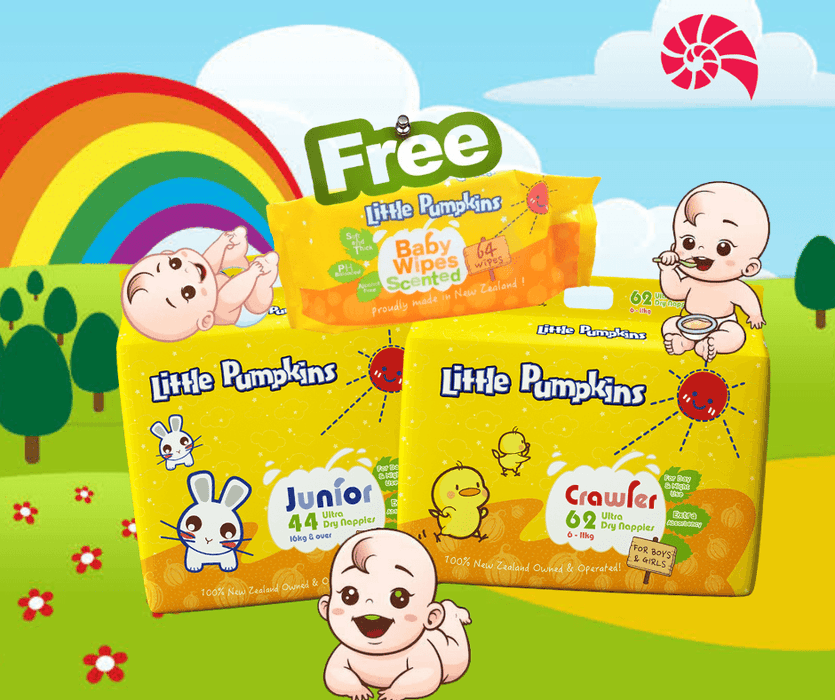 Little Pumpkins Jumbo Nappies-FREE wipes