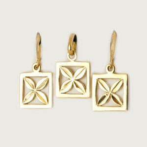 Samoan Leaf Inspired Set (Earring and Pendant) 9 Kt Gold