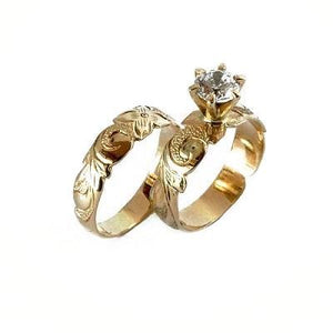 Maile Half Design Ring Set with Cubic Zirconia Stone