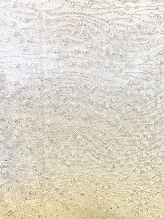 White Lace with beads Design 6/per meter - MADPACIFIC