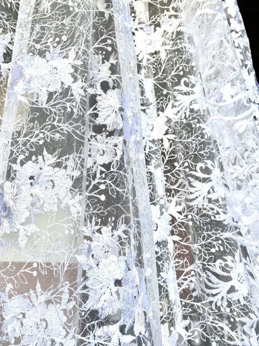 White Lace with pearls Design 2/per meter - MADPACIFIC