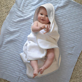 Hello Spud Hooded Towel Set Organic Cotton Pintuck Gray